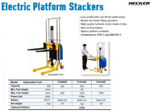 Catalog รถยกสูงไฟฟ้า Electric Platform stacker
