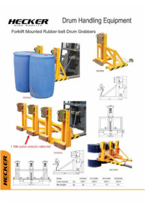 อุปกรณ์เสริมรถโฟล์คลิฟท์สำหรับยกถังน้ำมัน Forklift mounted rubber -belt drum grabbers DG500A
