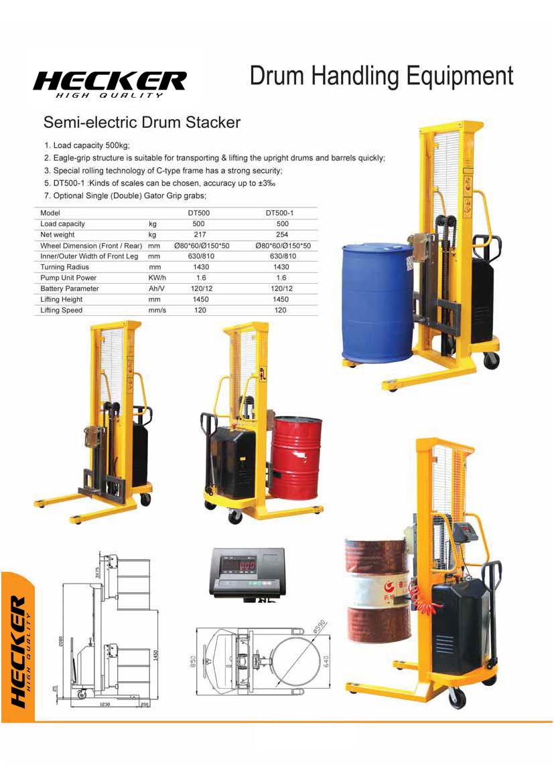 รถยกถังน้ำมันไฟฟ้า Semi- electric Drum stacker DT500 รับน้ำหนัก 500 kg.