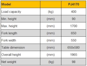 รถยกทับซ้อนแบบถาดยก platform stacker PJ4170 รับน้ำหนัก 400 kg ยกสูง 1700 mm. แบบงา